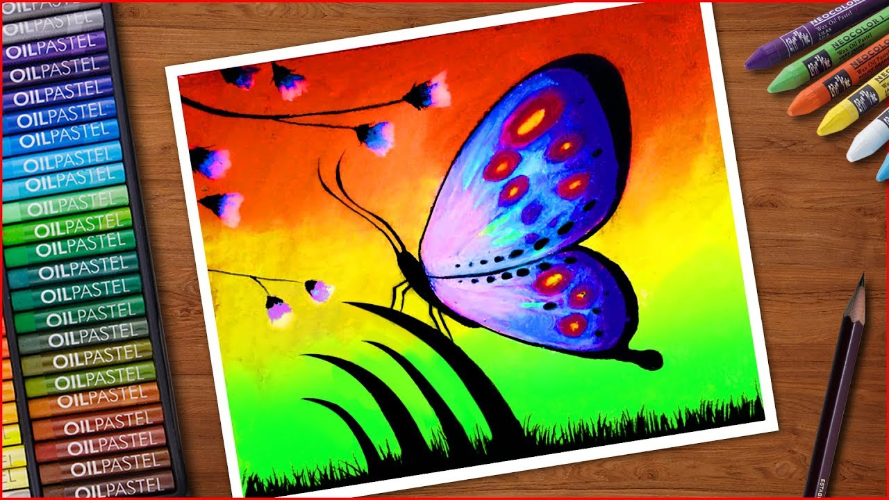 Oil Pastels Drawing Of Butterfly Sitting On Grass And Flowers Very Eas Oil Pastel Butterfly Art Painting Butterfly Drawing