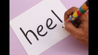 How to turn word HEEL into a Cartoon Girls Heel Shoes ! Learn drawing art on paper for kids