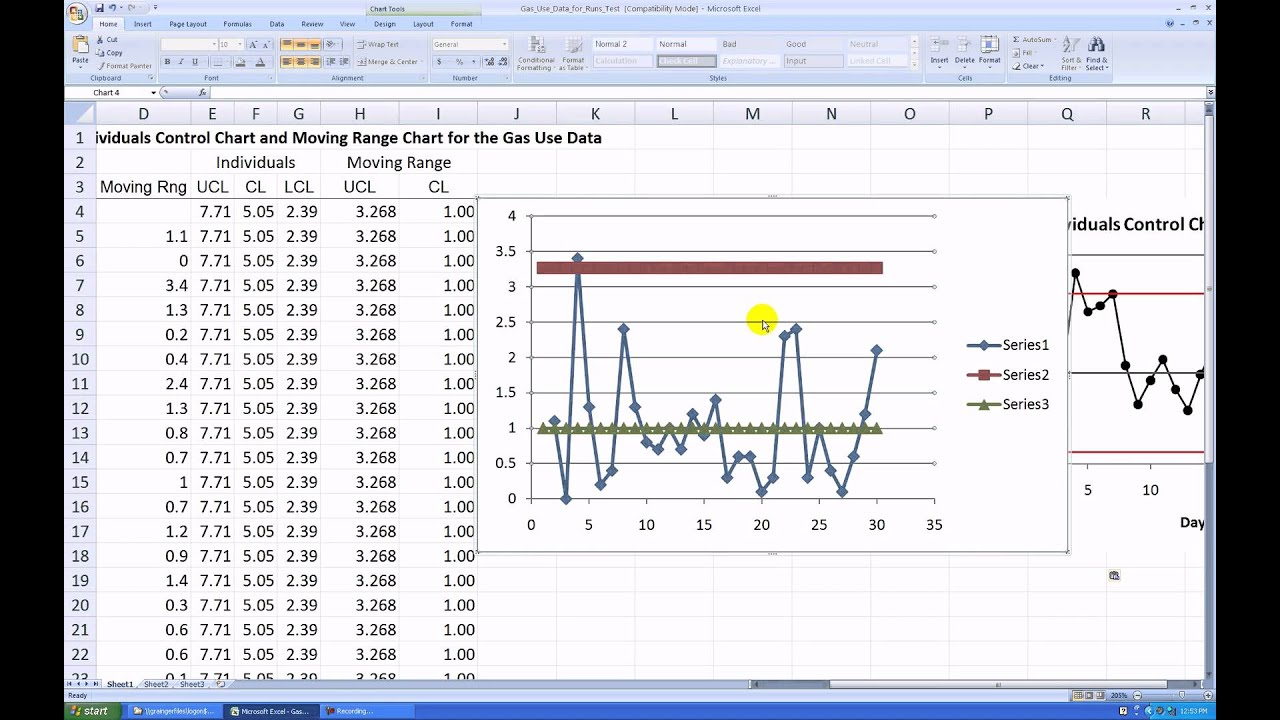 how to make a moving range control chart in ms excel 2007