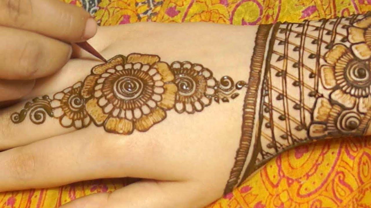 Modern arabic mehndi fancy design - YouTube