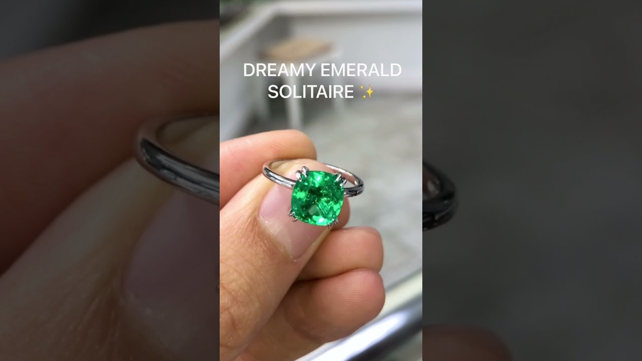 Inspiring 2.62 carat cushion cut Colombian emerald double prong engagement ring for her in 14K