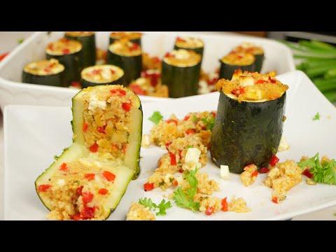 Zucchini Rezept I Gefüllte Zucchini mit vegetarischer Couscous Füllung
