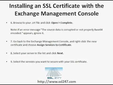 SSL Certificates - Installation On Microsoft Exchange Server 2010