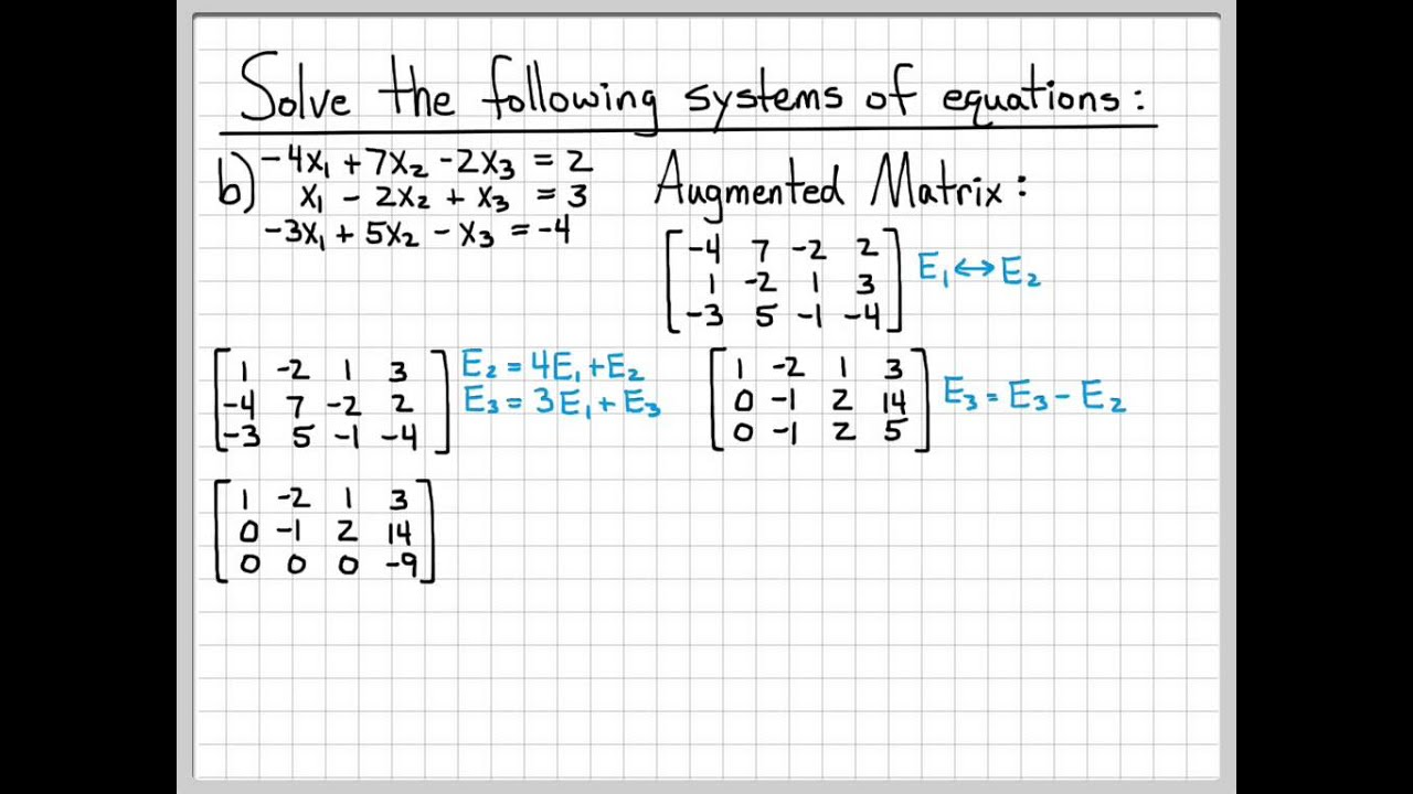Linear Algebra Example Problems  Solving Systems of