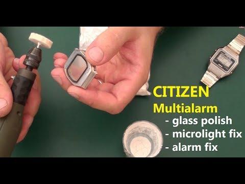 VintageDigitalWatches - Ep 27 - Citizen digital service and fix (glass polish, microlight, alarm)