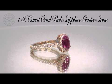 Pink Sapphire Rose Gold Halo Engagement Ring