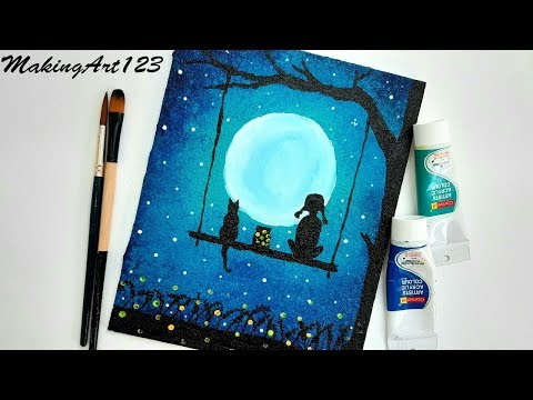 Easy Moonlight Night Painting- Easy Acrylic Painting for Beginners