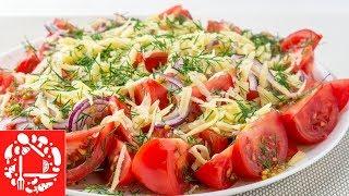 """Салат с помидорами на скорую руку """"Когда гости на пороге"""" 😋👍 Вкусно, пальчики оближешь!"""