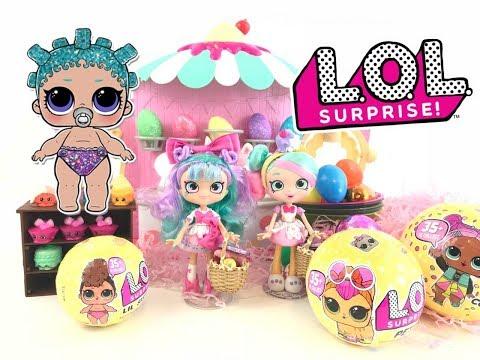 LOL Surprise Dolls Easter Egg Hunt BLACK TIE LIL COSMIC QUEEN CANDY SHOPKINS  Unboxing