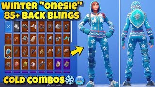 "NEW WINTER ""ONESIE"" SKIN Showcased With 85+ BACK BLINGS! Fortnite Battle Royale WINTER ONESIE COMBOS"