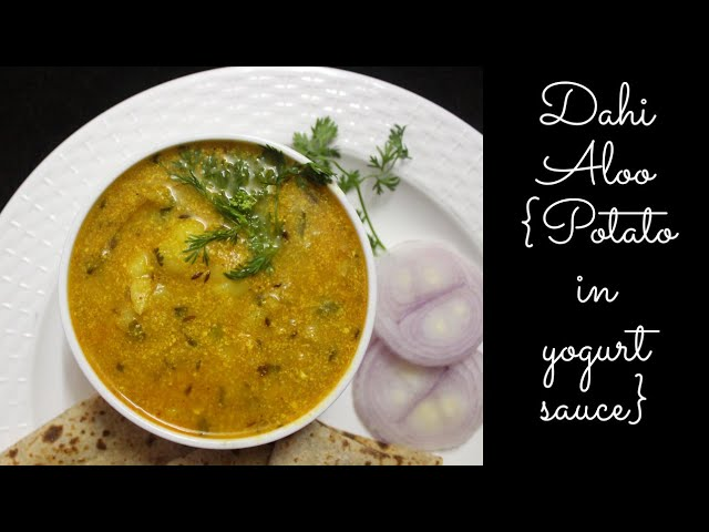 Dahi Aloo, easy indian side dish made with curd and boiled potato