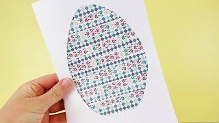DIY OSTERDEKO BASTELN | coole Silhouetten Karte zu Ostern selber machen mit bunten Mustern