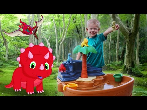 Step2 Dino Dig Sand & Water Table Playtime || Counting Hide & Seek with Michael