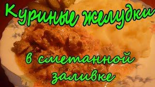 ОоЧень Вкусные Куриные Желудки в Сметанной Заливке.Рецепты Вторых Блюд.