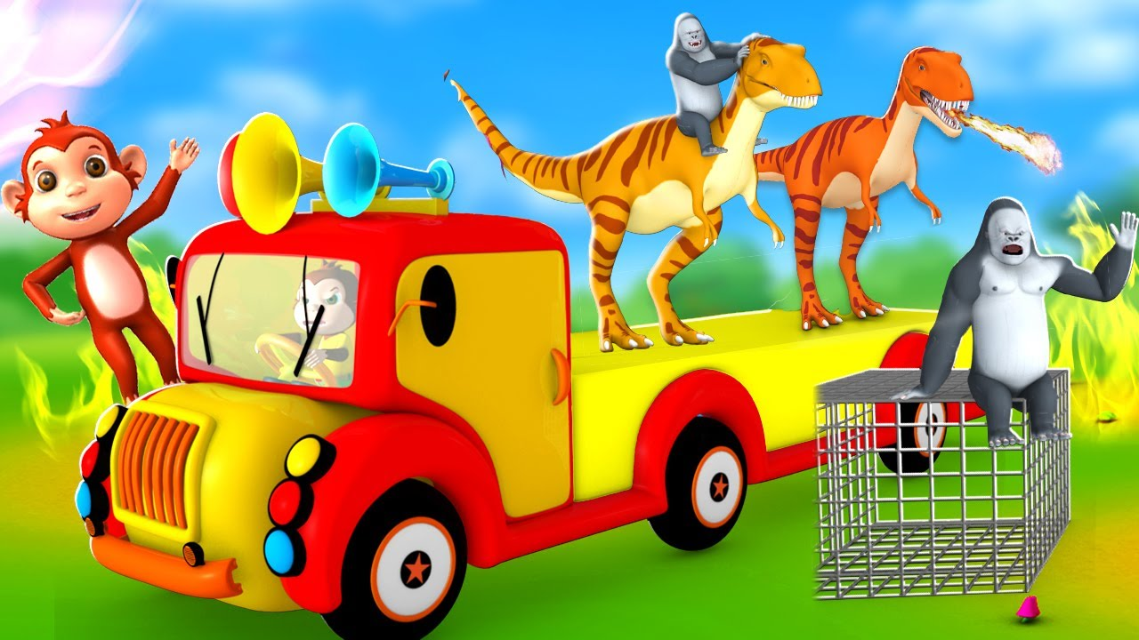 Funny Dinosaurs Transporter Truck - Monkey Hunter in Forest | Gorilla and Elephant Videos in Jungle