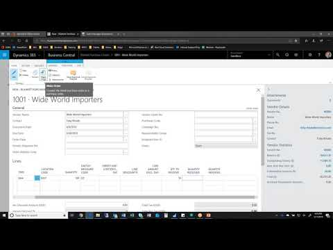 How do I create a Blanket Purchase Order in Dynamics 365 Business Central