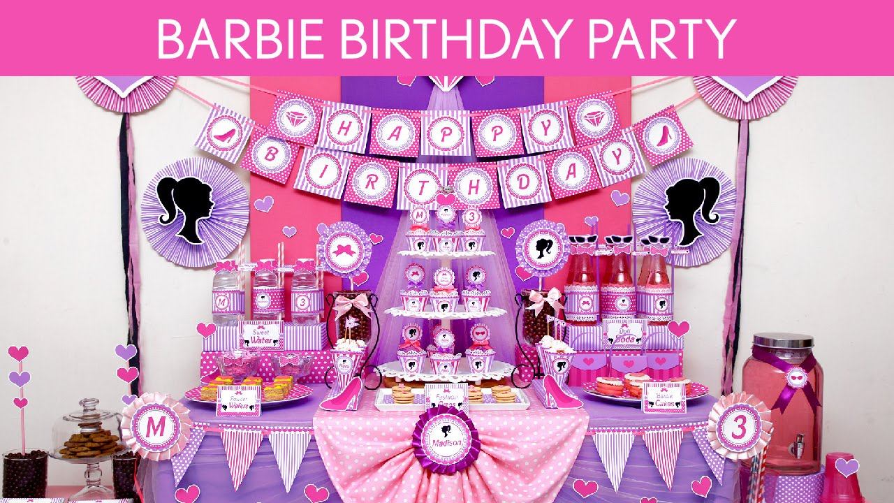 Birthday Theme Decoration Ideas Part - 22: Barbie Birthday Party Ideas // Barbie - B129 - YouTube