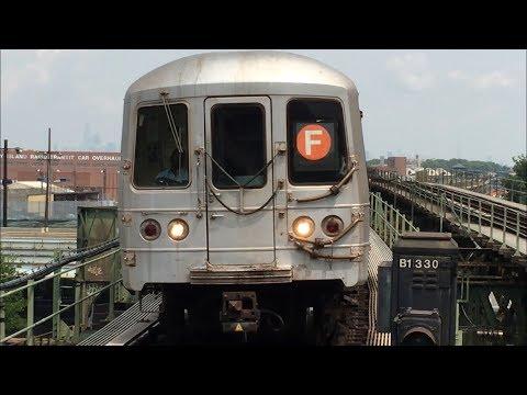 IND Culver Line: Manhattan and Coney Island bound (F) Trains @ Neptune Avenue (R46, R160A-2, R160B)