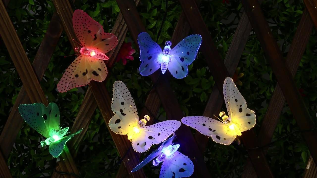 12 LED Solar Powered Fiber Optic Butterfly String Garden