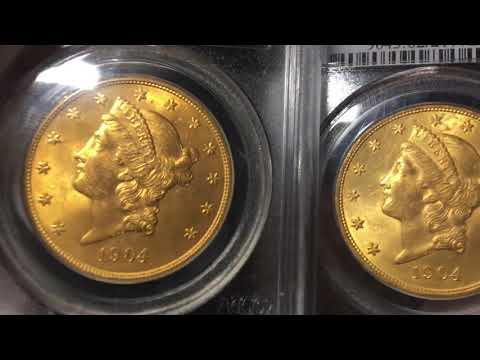 Comparing Four $20 Gold Liberty Double Eagle Coins PCGS Grades MS62