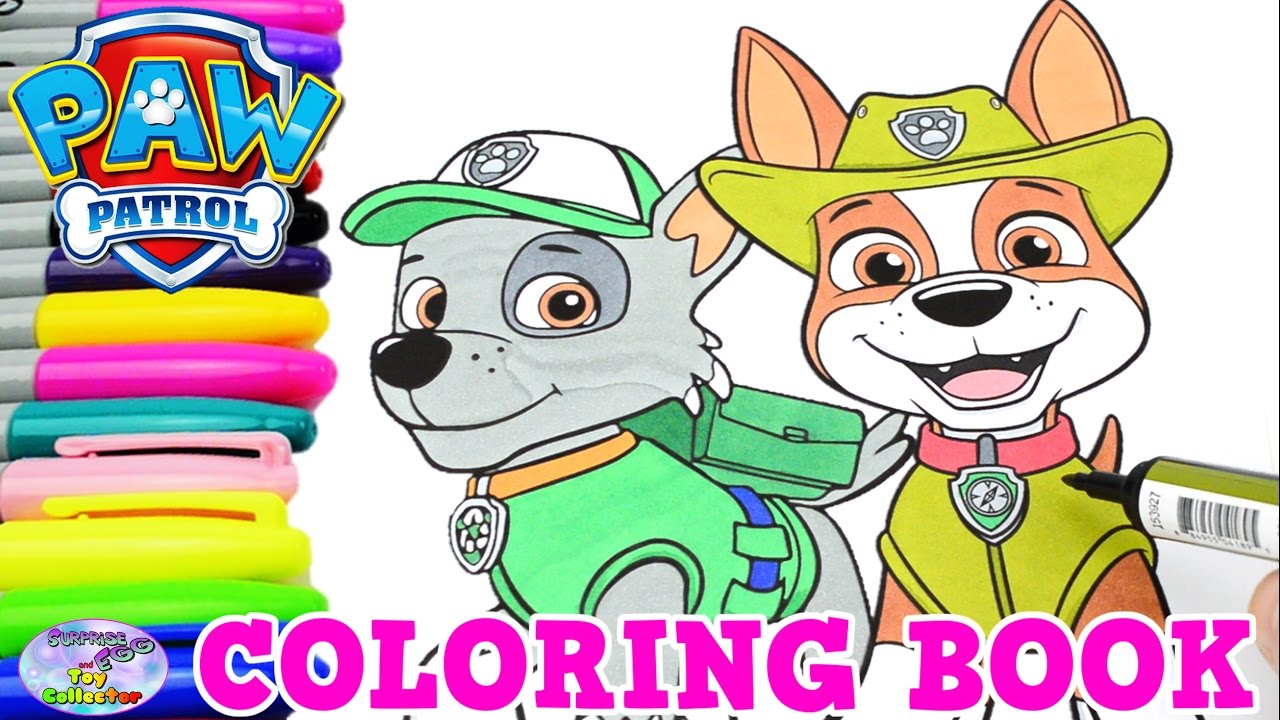 Paw patrol coloring pages tracker - Paw Patrol Coloring Book Jungle Rescue Tracker Rocky Episode Surprise Egg And Toy Collector Setc