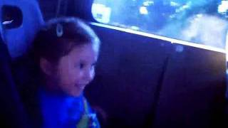 Hannah rides in the Mean Machine Monster Limo