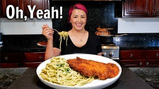 Green Spaghetti and Crispy Chicken Cutlet (Cook with me Recipe)