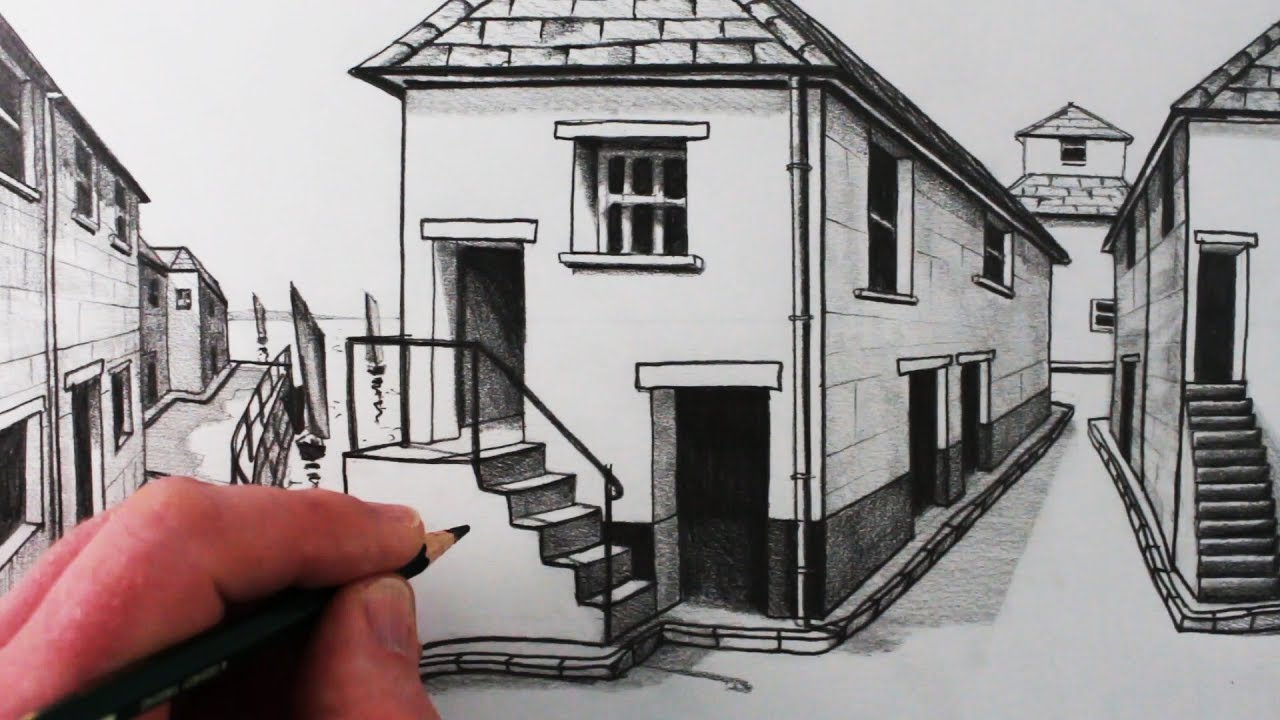 How to draw a house in 1 point perspective step by step for Draw your house