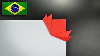Origami: Marca Página de Lótus - Instruções em Português BR