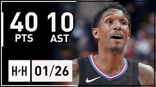 Lou Williams COLD Full Highlights Clippers vs Grizzlies (2018.01.26) - 40 Pts, 10 Ast off the Bench!