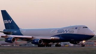 SW Italia Boeing 747 Sunset Departure at Stansted Airport