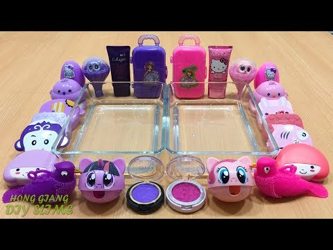 PURPLE vs PINK | Mixing Random Things into Clear Slime | Special Series Satisfying Slime Videos #16