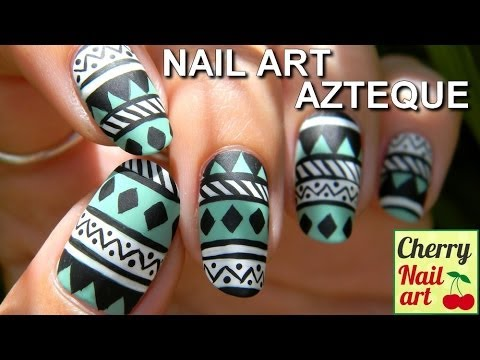 NAIL ART azteque facile - YouTube