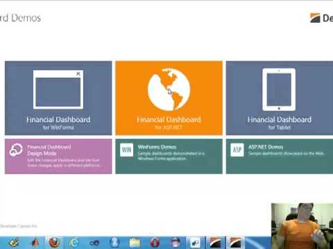 DevExpress DotNet demo of financial dashboard for web desktop iPhone Ipad  Android and Window Mobile