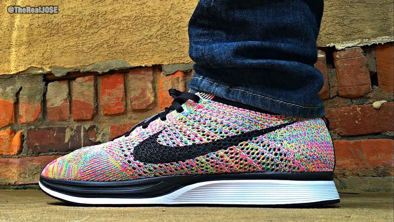newest 86a33 cd491 ... germany nike flyknit racer multi color 3.0 on feet 3ca4a aa5c6