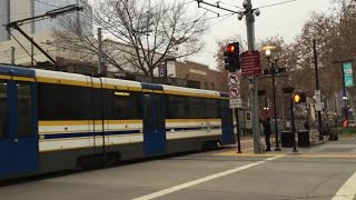 Sacramento Light Rail Gold and Blue Line Trains Cross Each Other On 8th and K Street, Downtown Sac