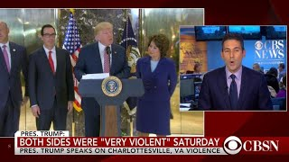 Trump defends his delayed response to violence in Charlottesville
