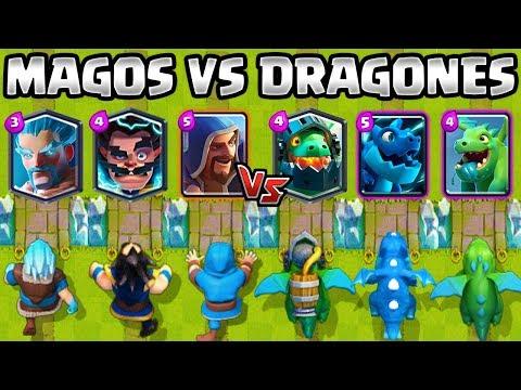 DRAGONES VS MAGOS | CUAL ES MEJOR MAGO o DRAGÓN? | RETO CLASH ROYALE | 1vs1 | Wizards vs Dragons