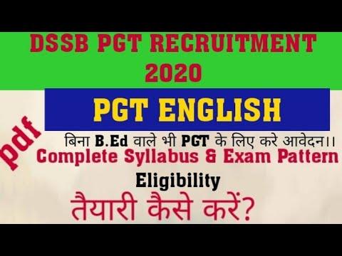 #DSSB_TGT_PGT_2020. #PGT_English_Syllabus ||DSSB PGT English syllabus ||PGT English Pattern&Syllabus