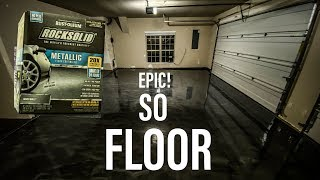 Installing Epoxy (Polycuramine) Floors! Rustoleum ROCKSOLID Metallic - Dream Garage Build Pt 4: