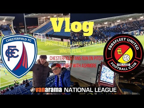 Chesterfield fans run on Pitch fighting Ashmore!99th minute Penalty!Chesterfield vs Ebbsfleet vlog!