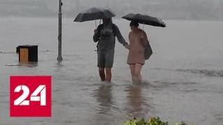 Смотреть видео Тропический ливень в Крыму: машины поплыли как корабли - Россия 24 онлайн