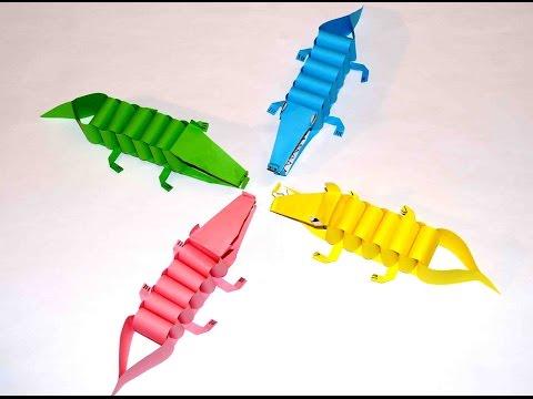 Diy paper crafts. Paper craft for kids. Paper crocodiles. PAPER CRAFTS FOR KIDS