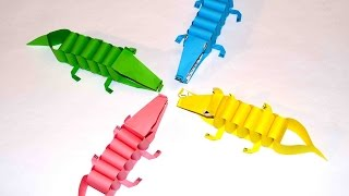 Diy paper crafts. Paper craft for kids. Paper crocodiles.