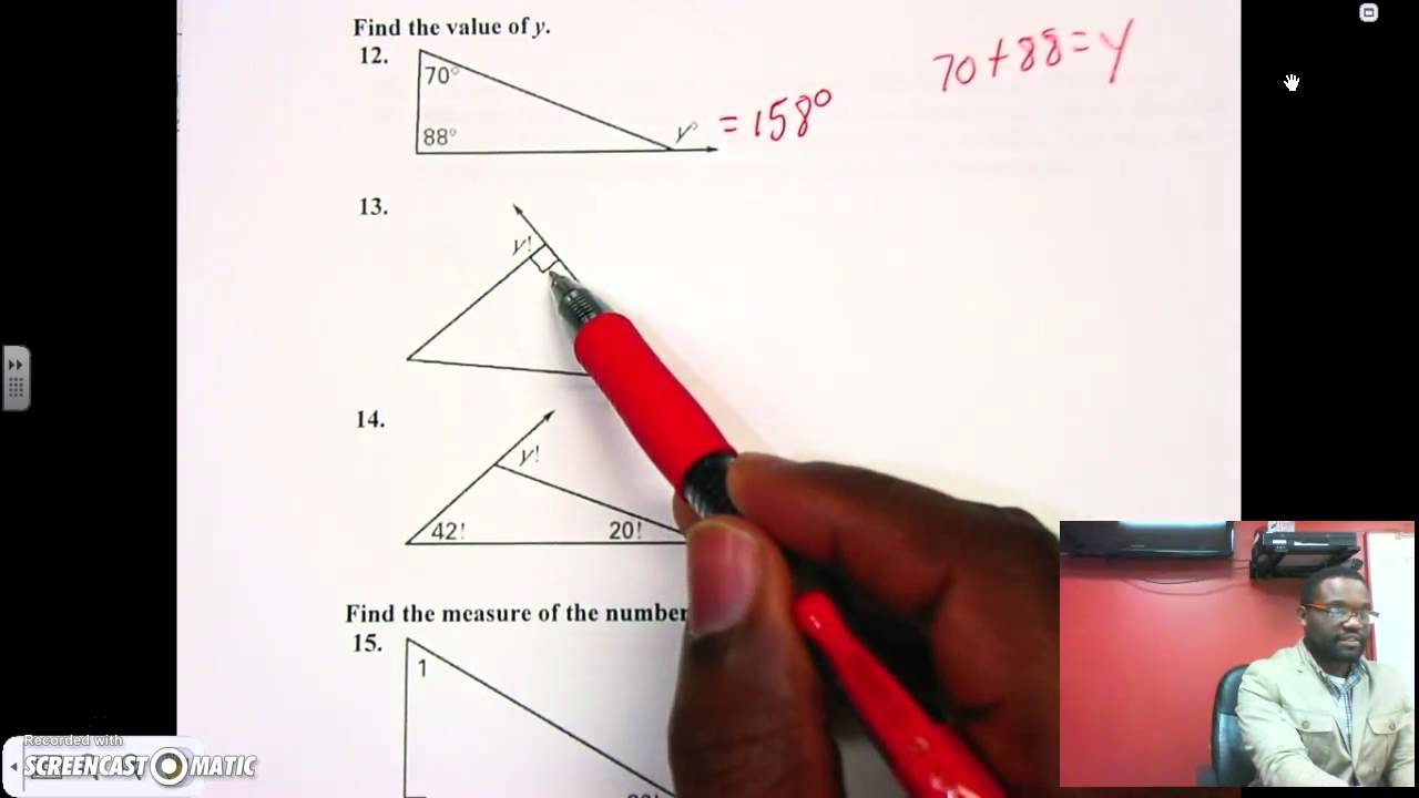 Triangle sum exterior angle theorem youtube - Sum of the exterior angles of a triangle ...