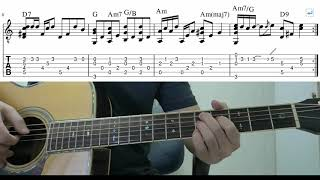 Something (The Beatles) - Easy Fingerstyle Guitar Playthrough Tutorial Lesson With Tabs
