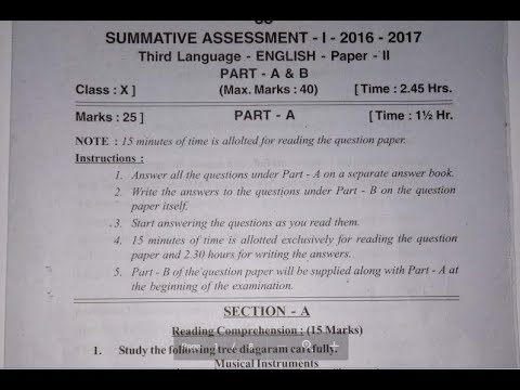 Summative Assessment 1 (SA 1) English Question Paper 2 CCE 2017 For Class  10th/X
