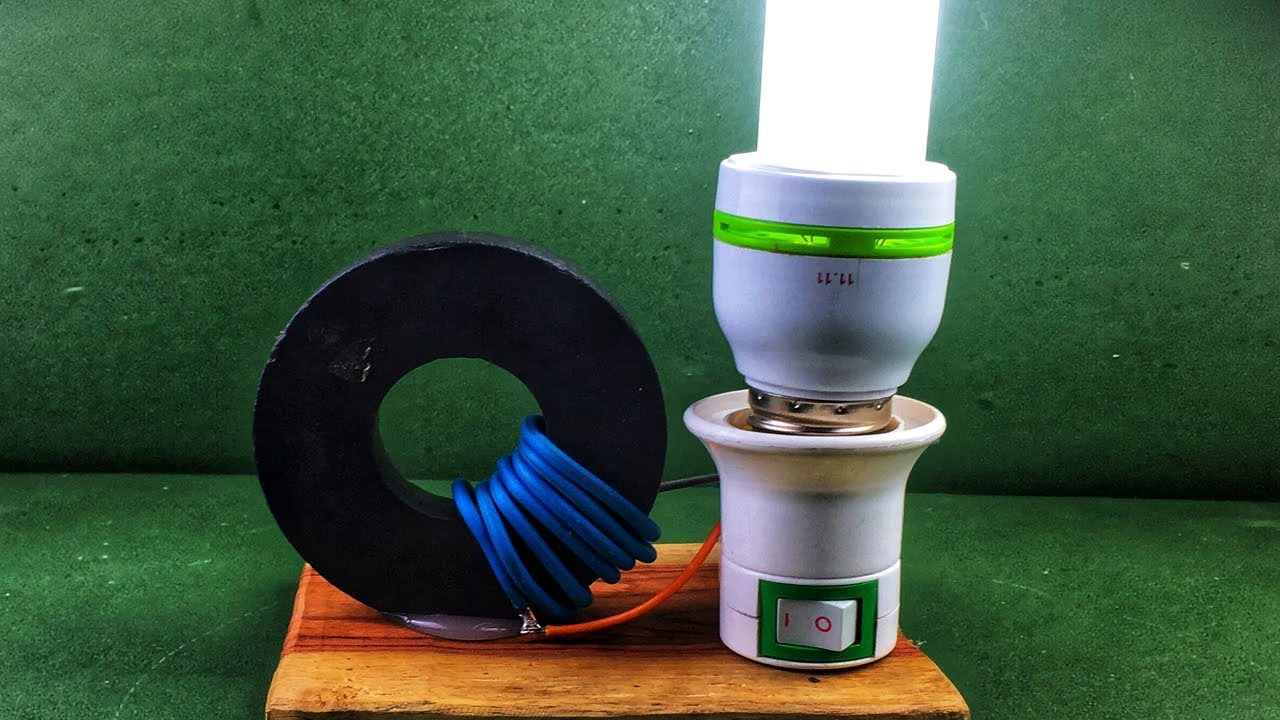 DIY Free Energy Generator Homemade With Power Magnet Using 220V LED Bulb New Technology 2018