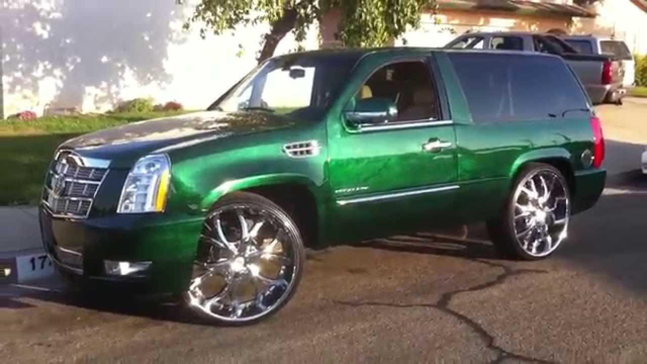 2011 CADILLAC ESCALADE PLATINUM 2 DOOR CANDY GREEN MARBLE ON 28\  INCH LEXANI GO!!! GREEN - YouTube & 2011 CADILLAC ESCALADE PLATINUM 2 DOOR CANDY GREEN MARBLE ON 28 ...