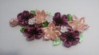 Kanzashi. flowers of satin ribbons  /Канзаши.  цветы из атласных лент